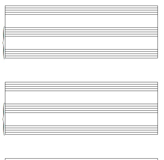 声乐演唱歌曲钢琴伴奏五线谱模板 空白五线谱