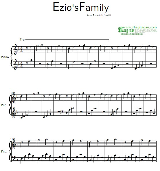 family 琴谱 sheet music   流行音乐乐谱   楽谱   五线谱   钢琴谱