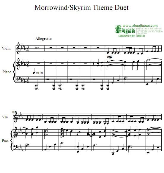m Theme小提琴钢琴重奏谱