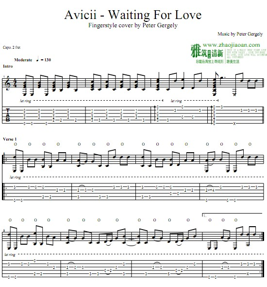 Peter Gergely版 Avicii - Waiting for Love指弹吉他谱