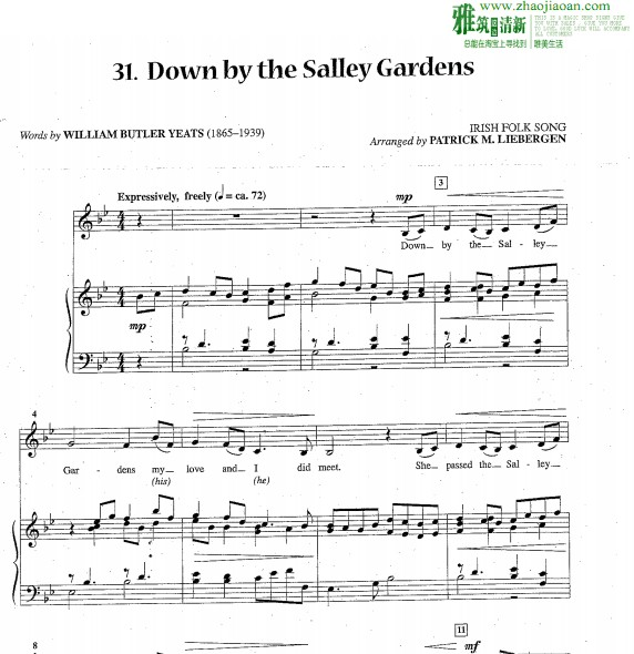 down by the salley gardens钢琴伴奏谱