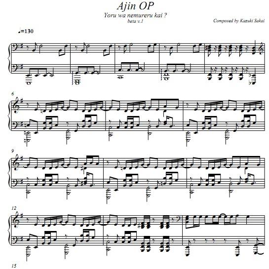 亚人ajin Op Yoru Wa Nemureru Kai钢琴谱 找教案