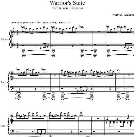 浪客剑心Rurouni Kenshin OST III Warriors Suite钢琴谱