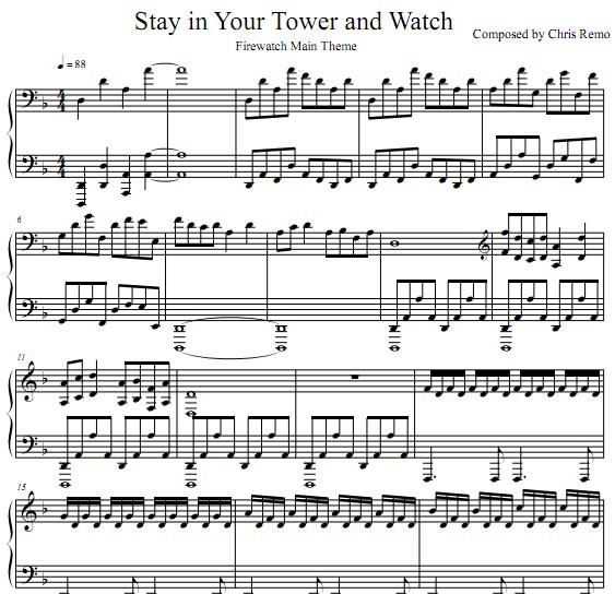 看火人firewatch主题曲 stay in your tower and watch钢琴谱