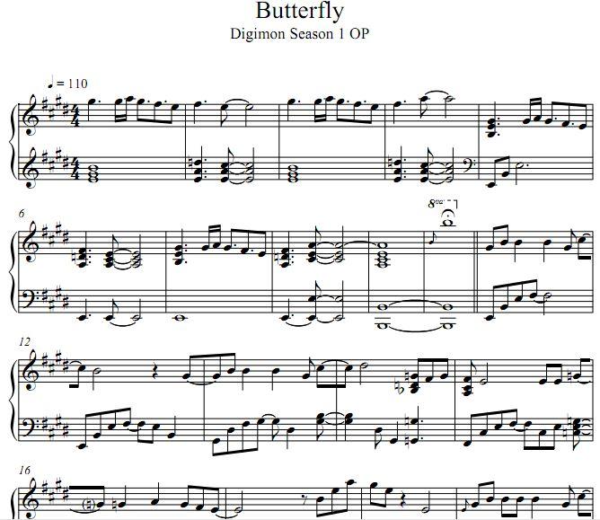 butterfly钢琴谱