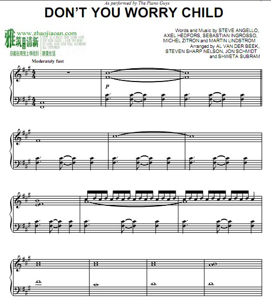 The Piano Guys Don T You Worry Child 钢琴谱 找教案