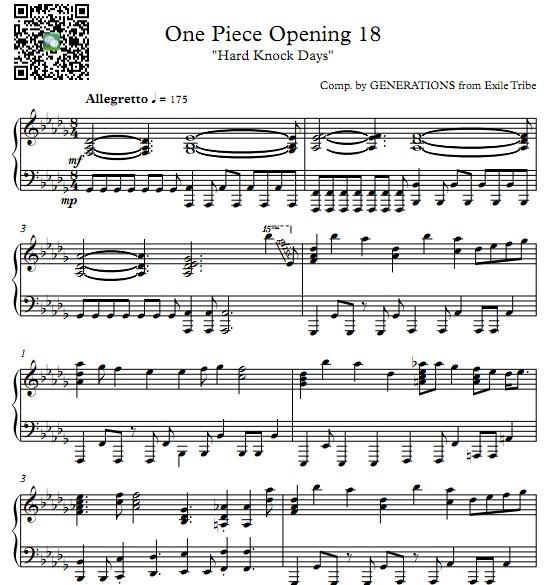 海贼王op18 Hard Knock Days钢琴谱 找教案