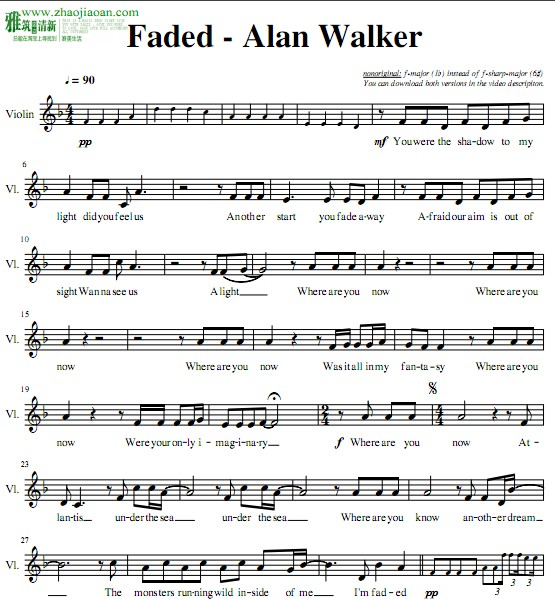 faded小提琴谱(易)f调