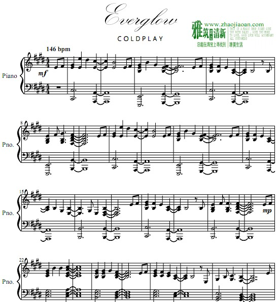 coldplay everglow钢琴谱