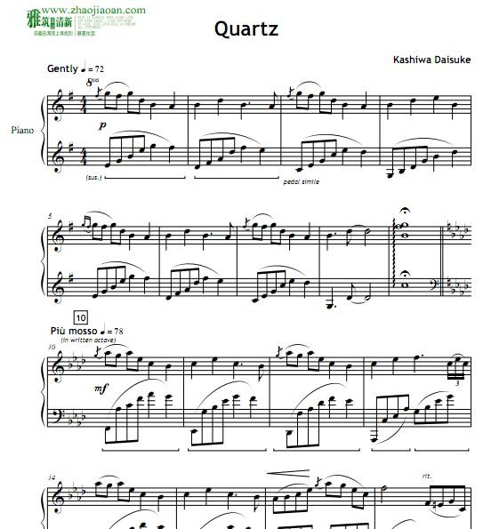 柏大辅quartz钢琴谱
