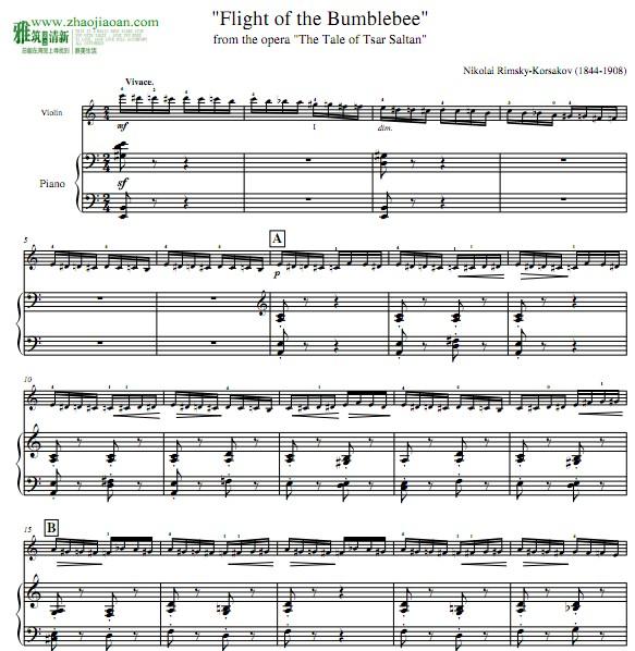 野蜂飞舞小提琴钢琴合奏谱 小提琴分谱