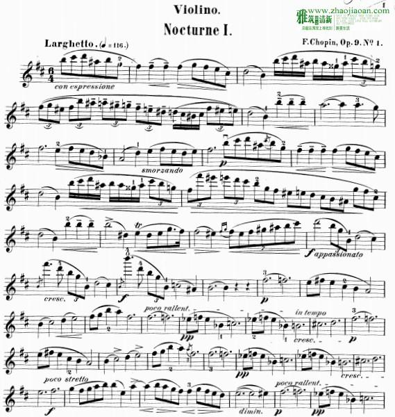 肖邦夜曲op9 小提琴谱 no1 no2 no3