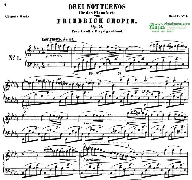 肖邦夜曲nocturne no. 1, op. 9 in b-flat钢琴谱