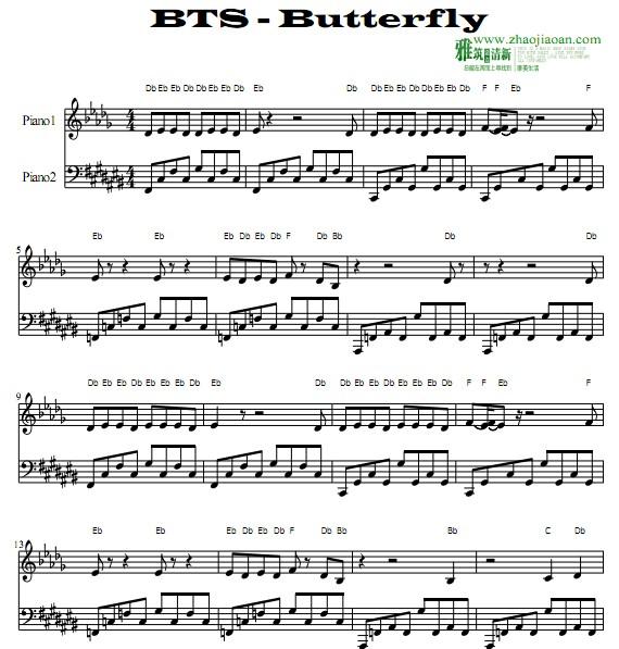 舒曼蝴蝶谱子-BTS BUTTERFLY钢琴谱