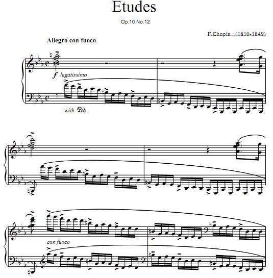 肖邦革命练习曲钢琴谱