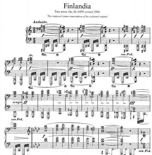 西贝柳斯 芬兰颂钢琴谱