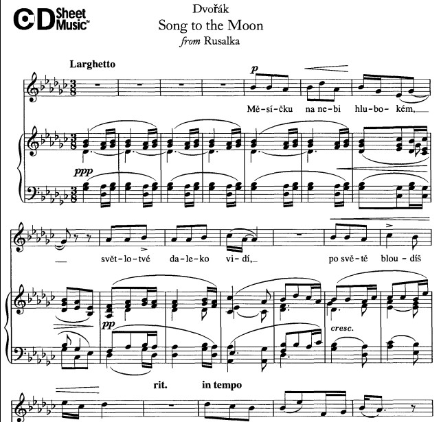 歌剧水仙女的咏叹调月亮颂五线谱带歌词
