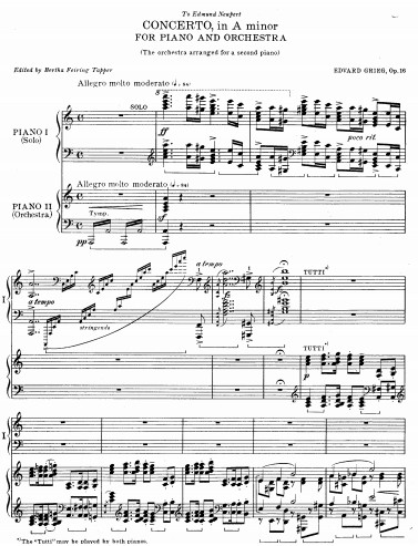 格里格钢琴变奏曲_格里格 a小调钢琴协奏曲 Op.16 双钢琴 原版钢琴谱 - 找教案