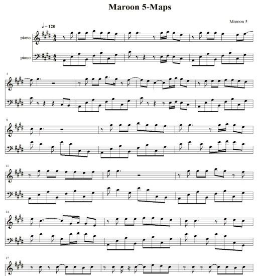 Maroon 5 Maps钢琴谱