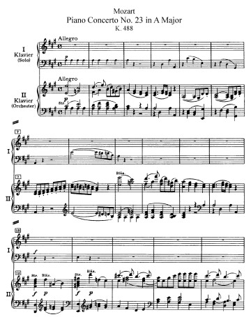莫扎特第23钢琴协奏曲钢琴谱