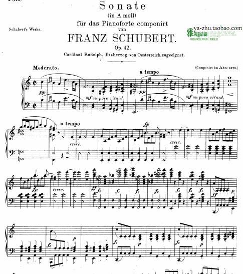 舒伯特a小调第16号钢琴奏鸣曲钢琴谱 舒伯特奏鸣曲D845