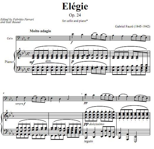 faure福雷悲歌大提琴谱 钢琴伴奏谱 elegie op.24