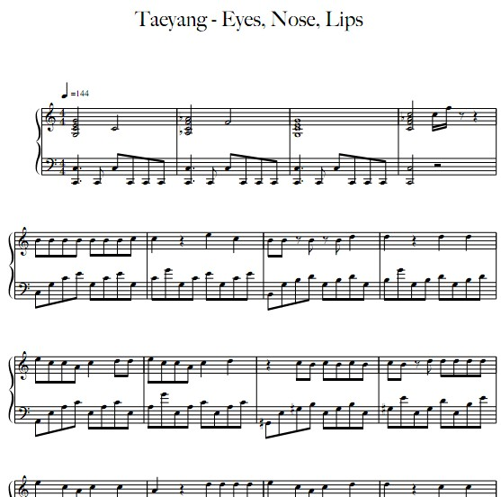 太阳Taeyang - 眼鼻嘴Eyes, Nose, Lips 钢琴谱