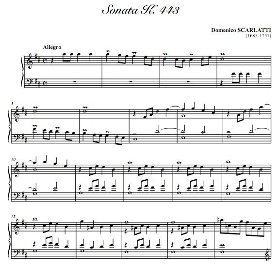 斯卡拉蒂d大调奏鸣曲k443钢琴谱