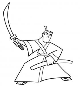 武士杰克简笔画 samurai jack
