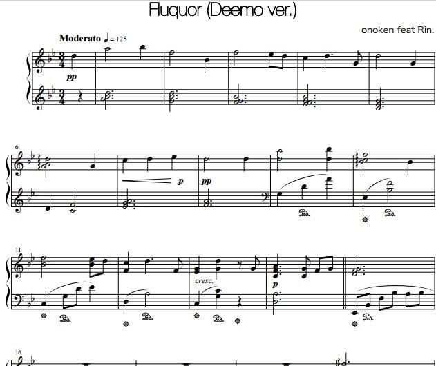 deemo fluquor钢琴谱