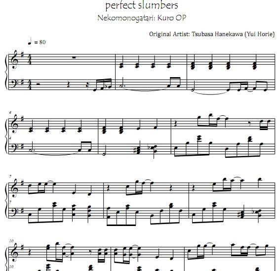 猫物语 黑perfect Slumbers钢琴谱 找教案