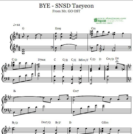 乐谱 韩国流行歌曲         泰妍,金泰妍 kim tae yeon 电影《mr.