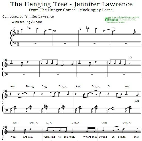饥饿游戏3The Hanging Tree钢琴谱