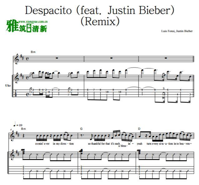 despacito (remix) 中级尤克里里谱