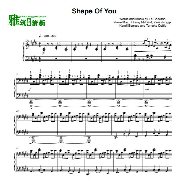 y May版 Shape of You爵士钢琴谱