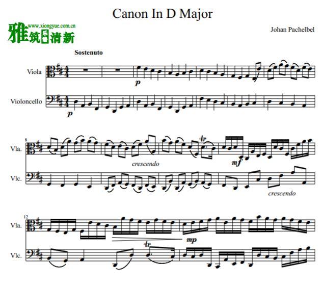 帕赫贝尔 canon in d major d大调卡农中提琴大提琴二