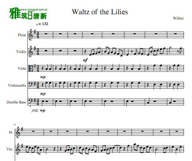 Waltz of he Lilies管弦乐五重奏谱 长笛大中小低音提琴