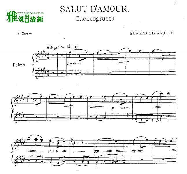 埃加尔 爱的礼赞四手联弹钢琴谱 原版正谱