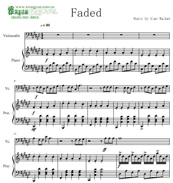 faded 大提琴钢琴合奏谱