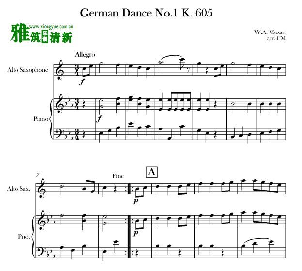 K605 钢琴萨克斯合奏谱