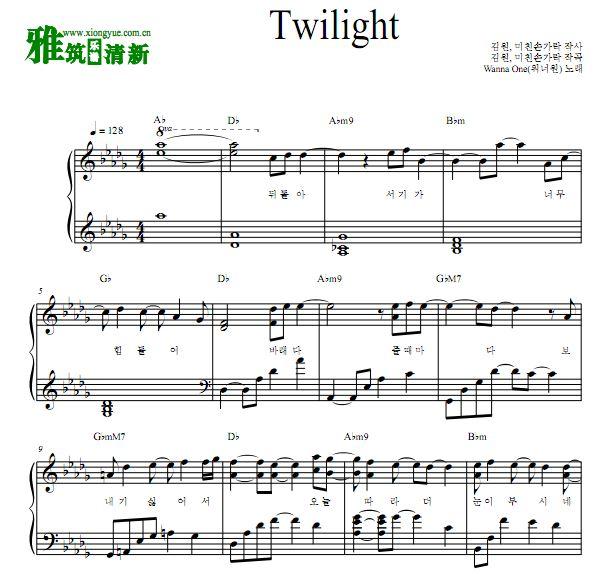 wanna one twilight钢琴独奏谱