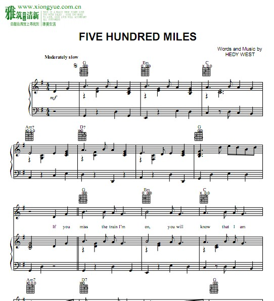 EEKERS Five Hundred Miles钢琴谱