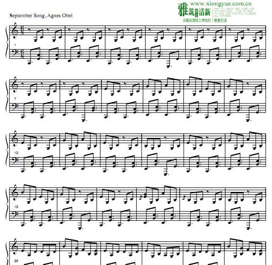 agnes obel - september song钢琴谱图片