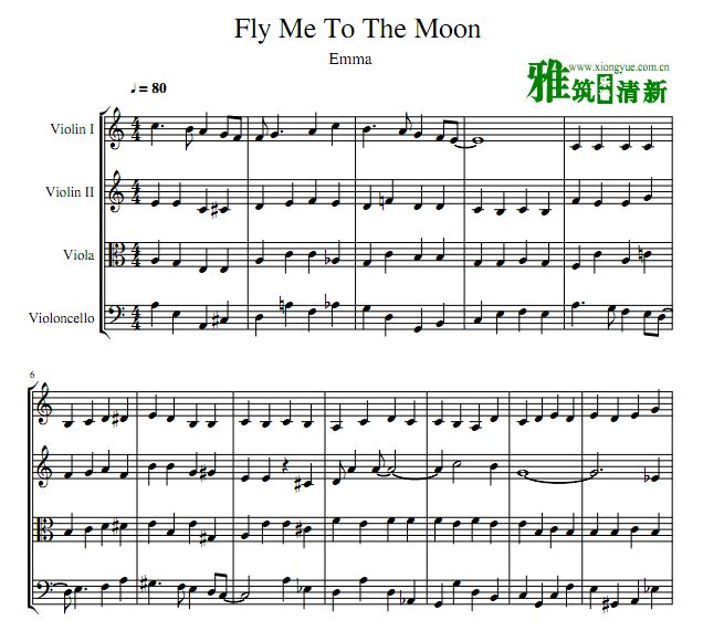he Moon弦乐四重奏谱
