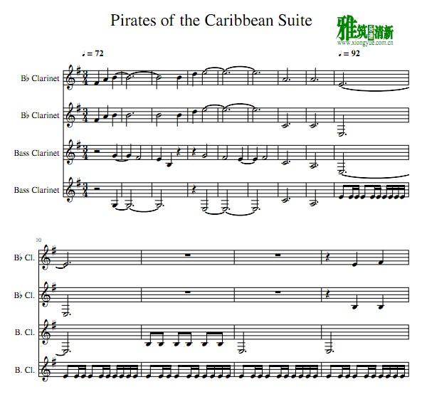 海盗 单簧管四重奏谱
