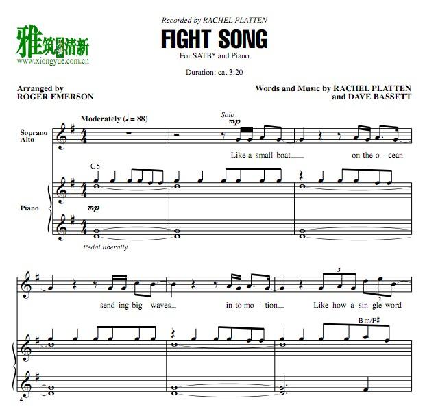 fight song 四声部合唱钢琴伴奏谱