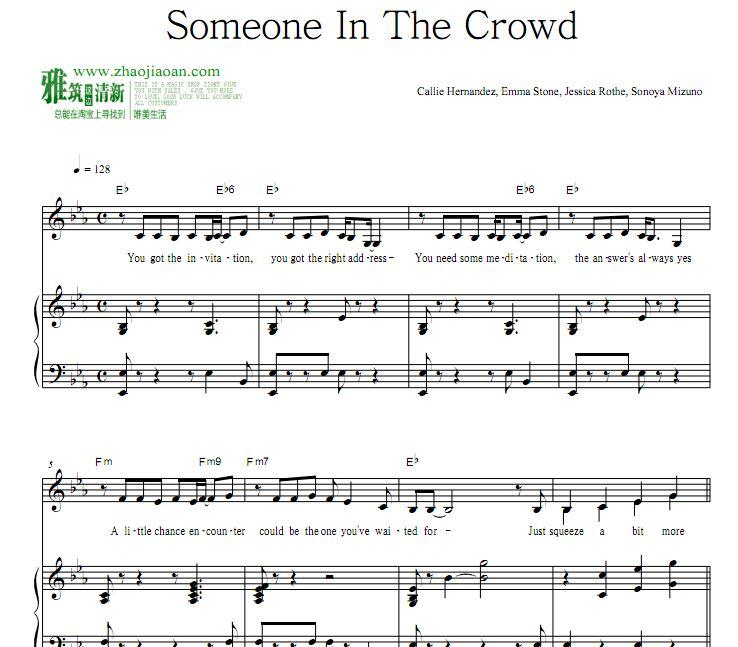 爱乐之城 Someone In The Crowd钢琴弹唱谱