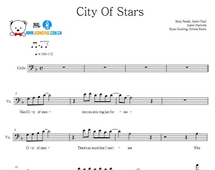 爱乐之城大提琴谱 City of stars大提琴谱