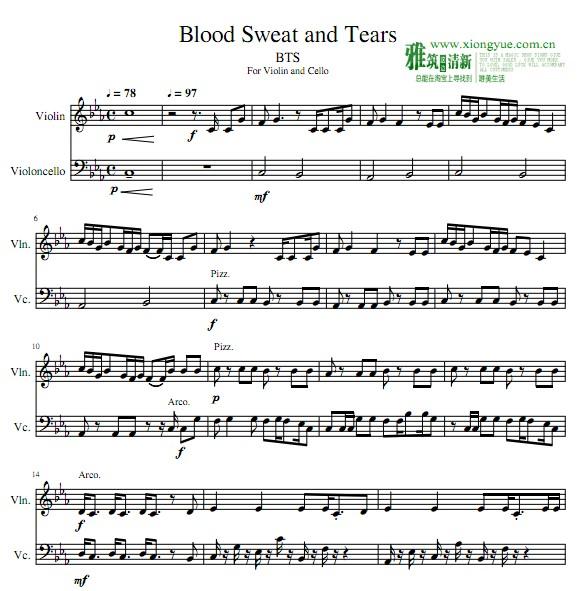 bts血汗泪小提琴大提琴重奏谱