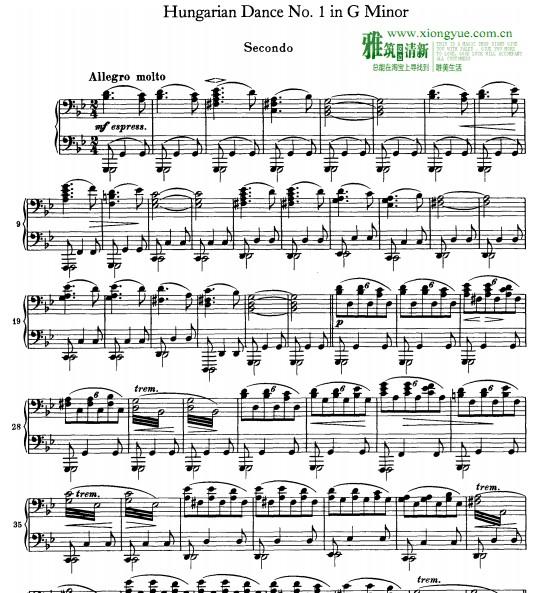 勃拉姆斯 匈牙利舞曲四手连弹钢琴谱 no.图片